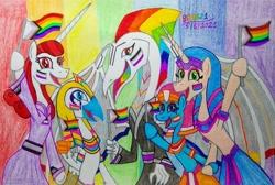 Size: 3180x2138   Tagged: safe, artist:bsw421, horus, oc, oc:neferneferuaten nefertiti, dragon, equine, fictional species, mammal, pony, unicorn, semi-anthro, friendship is magic, hasbro, my little pony, asexual, asexual pride flag, bisexual, bisexual pride flag, dragoness, egyptian, female, female/female, flag, headdress, lesbian pride flag, makeup, male, pansexual, pansexual pride flag, pride flag, pride month