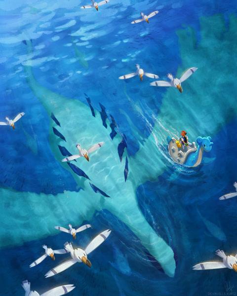 Size: 1280x1600 | Tagged: safe, artist:tamberella, ash ketchum (pokémon), ash's pikachu (pokémon), fictional species, lapras, legendary pokémon, lugia, pikachu, wingull, feral, nintendo, pokémon, 2021, ambiguous gender, beak, black eyes, cap, featured image, flying, group, hat, large group, male, ocean, pokémon trainer, riding, solo focus, swimming, tail, underwater, water, white body, white tail, white wings, wings