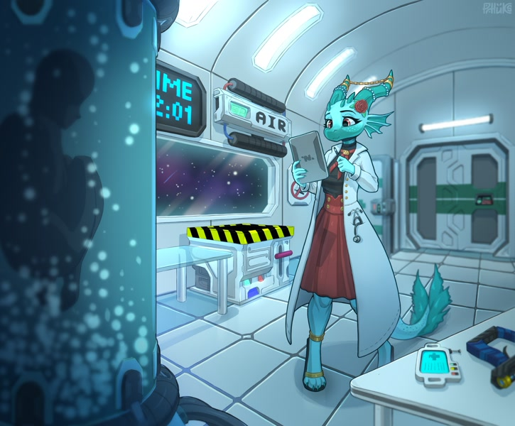 Size: 2550x2109   Tagged: safe, artist:philden2000, dragon, fictional species, anthro, 2021, blue body, clothes, cyan body, dress, featured image, female, flower, flower on head, horn jewelry, horns, jewelry, lab coat, laboratory, paws, sandals, sci-fi, shoes, solo, solo female, space station, ss13, tablet, tail