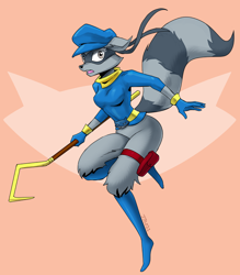 Size: 1000x1143 | Tagged: safe, artist:johnjoseco, sly cooper (sly cooper), mammal, procyonid, raccoon, anthro, sly cooper (series), bottomless, clothes, female, nudity, partial nudity, rule 63, shirt, solo, solo female, topwear
