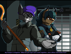 Size: 2008x1536 | Tagged: safe, artist:droll3, carmelita fox (sly cooper), sly cooper (sly cooper), canine, fox, mammal, procyonid, raccoon, anthro, capcom, resident evil, sly cooper (series), 2020, black nose, bottomwear, breasts, clothes, crossed arms, digital art, duo, ears, eyelashes, female, fingerless gloves, fur, gloves, hair, hat, looking at each other, male, pants, shirt, tail, thighs, topwear, unamused, vixen, wide hips