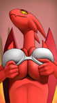 Size: 1080x1920   Tagged: suggestive, artist:creatiffy, lucia (satina), demon, dragon, fictional species, anthro, satina wants a glass of water, bedroom eyes, big breasts, bra, breast squish, breasts, clothes, digital art, eyelashes, female, huge breasts, looking at you, looking down, looking down at you, mature, mature female, scales, smiling, smiling at you, underwear, wide hips