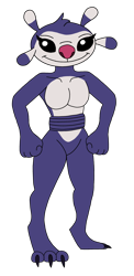 Size: 1590x3269 | Tagged: safe, artist:skyward-the-txnlover, sproing (lilo & stitch), alien, experiment (lilo & stitch), fictional species, anthro, disney, lilo & stitch, 3 toes, 4 fingers, antennae, anthrofied, black eyes, claws, digital art, dipstick antennae, dipstick ears, eyelashes, female, flat colors, fluff, fur, head fluff, multicolored antennae, pink nose, purple body, purple claws, purple fur, simple background, solo, standing, toe claws, transparent background, white body, white fur
