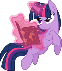 Size: 6000x6820 | Tagged: safe, artist:twilirity, twilight sparkle (mlp), equine, fictional species, mammal, pony, unicorn, feral, friendship is magic, hasbro, my little pony, 2021, absurd resolution, book, female, horn, mare, purple body, simple background, smiling, solo, solo female, tail, telekinesis, transparent background, vector